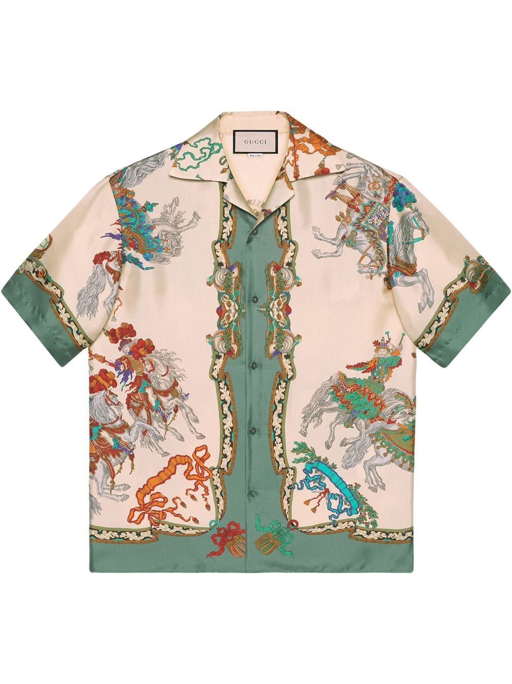 Silk Bowling Shirt With Jousting Print In Neutrals Bowling