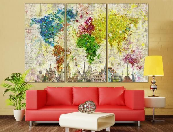 Color splashes world map 701 canvas print map globe apartments abstract world map canvas print from 5999 extra large office decor gumiabroncs Image collections