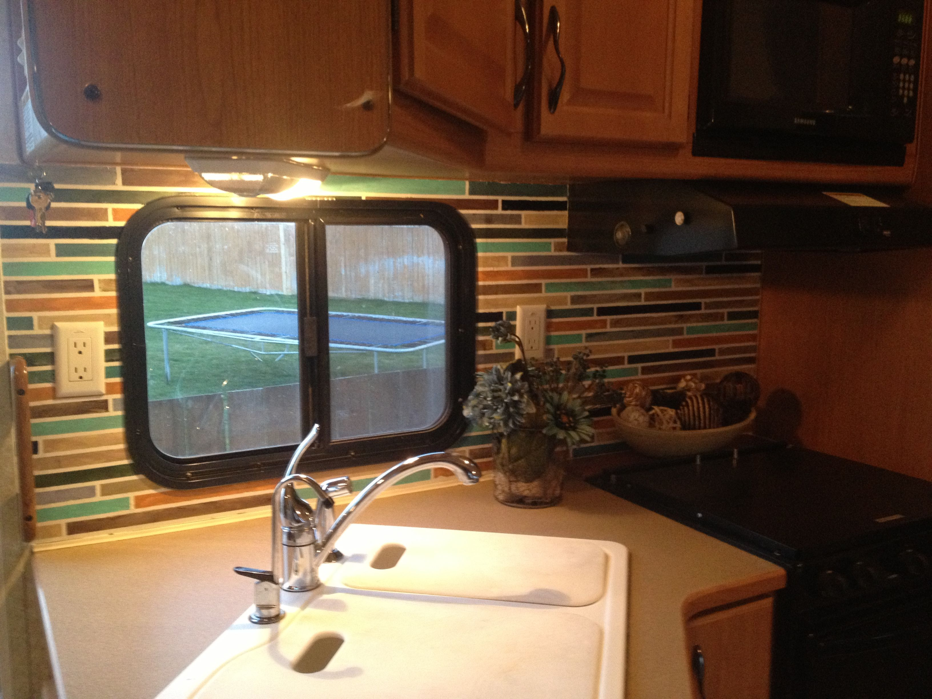 RV Remodel. How to paint over wallpaper and make a faux tile ...