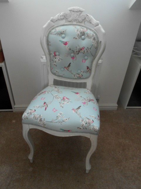 Dining Room Chair Covers Dunelm Wheel Cost In India Shabby Chic Re-upholstered Louis - Birds Duck Egg Blue Immaculate | All Things ...