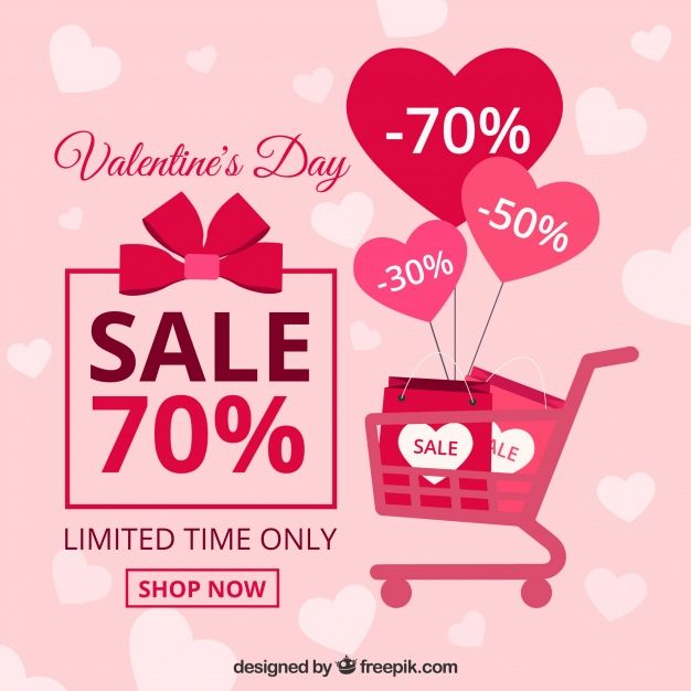 Flat valentine\'s day sale background Free Vector http://ift.tt ...