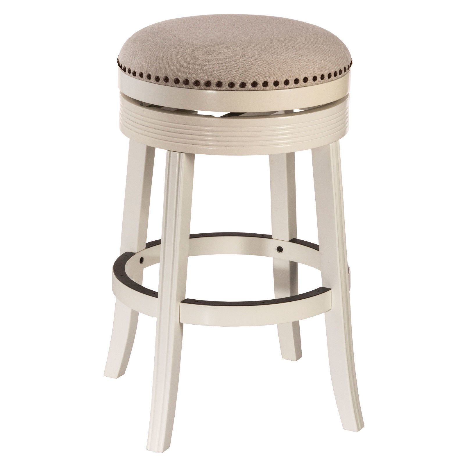 Bar Stools 153928 White Finished Round Seat Wood Backless Swivel