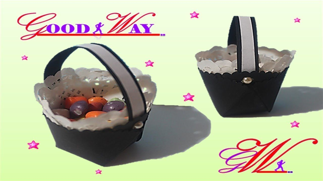 طريقة عمل سلة توزيعات للمناسبات2 How To Make Basket With Color Paper Food Diy And Crafts Hand Art