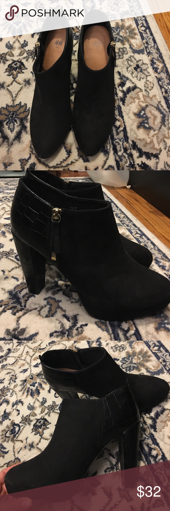 Only worn ONCE heeled ankle boots Beautiful suede and leather boot! Only worn once, selling because I have a foot problem and shouldn't be wearing any heels. Bought 2 months ago from H&M. H&M Shoes Heeled Boots