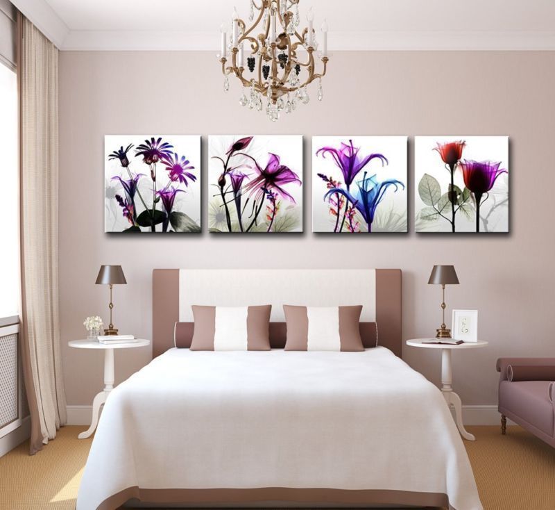 Wall Art Home Decor new wall 4 panels framed canvas picture photo print multi flowers