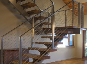Best Wood Steps Steel Cable Railing Modern Staircases Stair 640 x 480