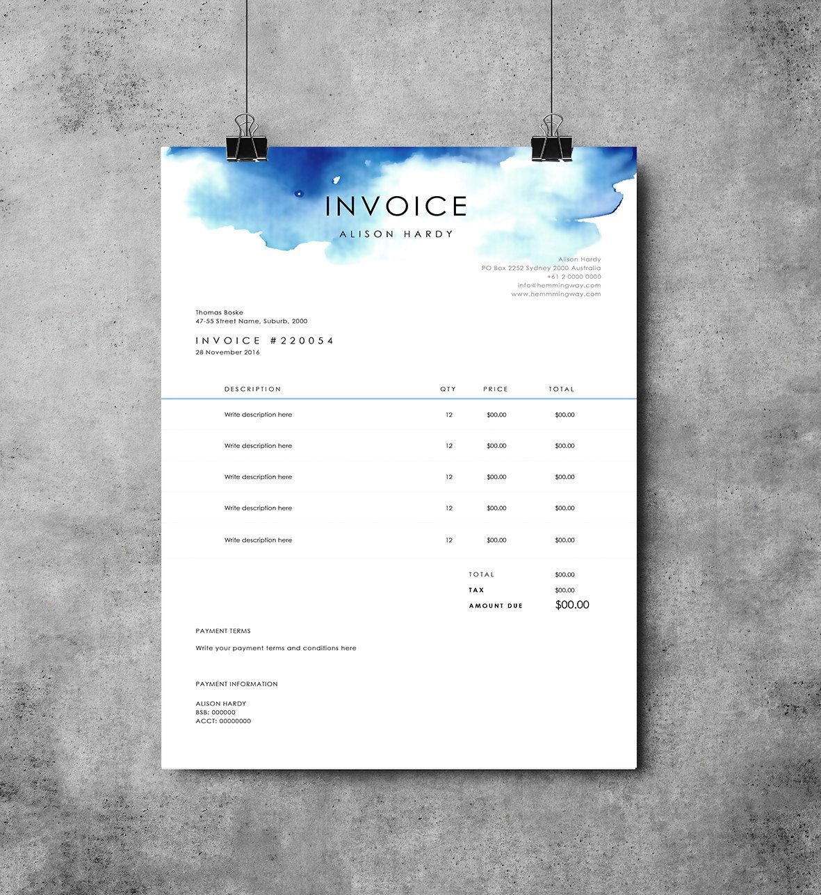 Invoice Template  Receipt  Ms Word Template  Instant Download