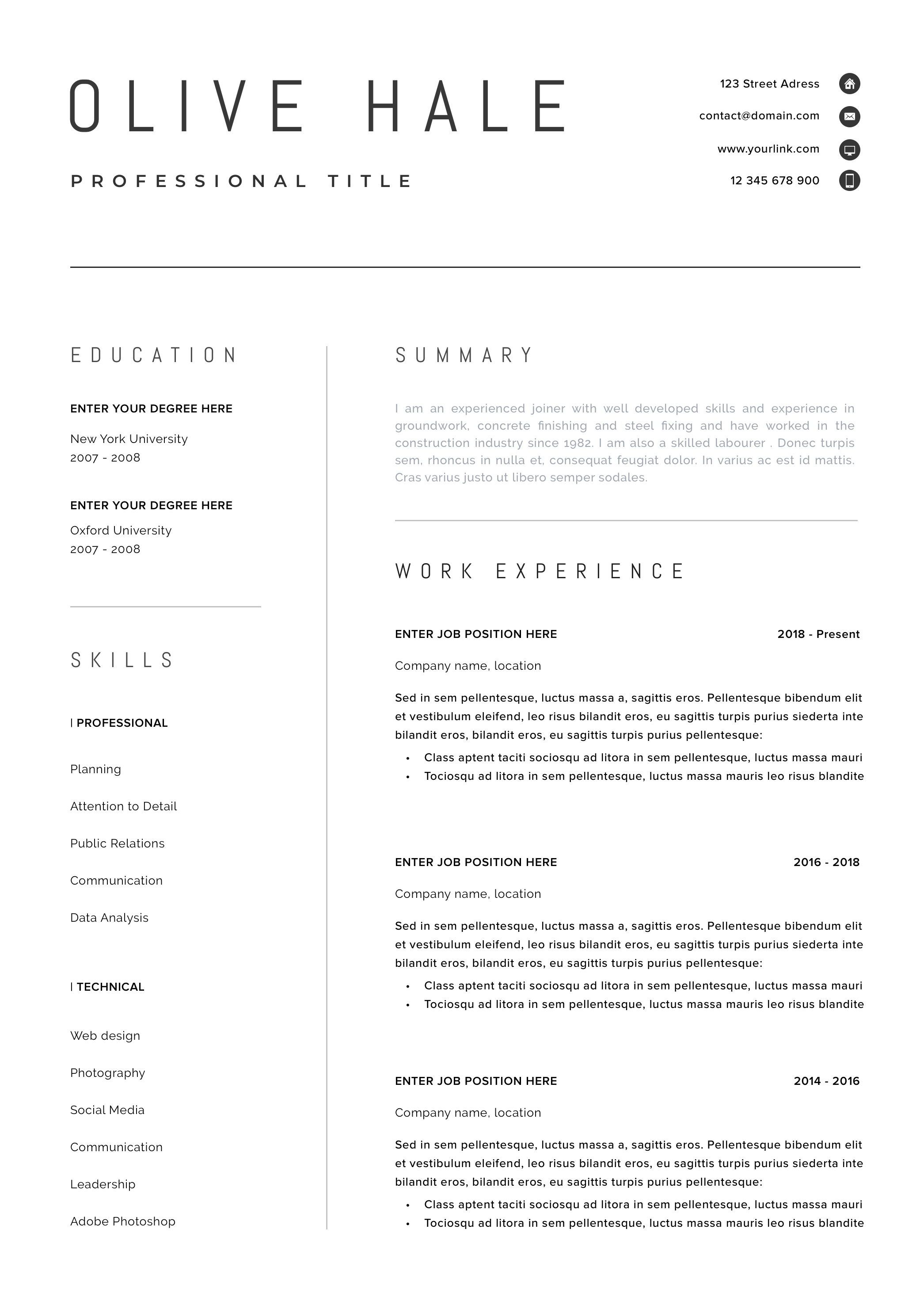 professional resume template  clean  u0026 modern resume template  one page resume  instant download