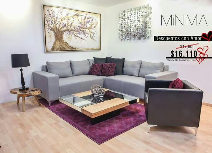 Sala gris con morado living gris morado turquesa for Decoracion de interiores en color gris