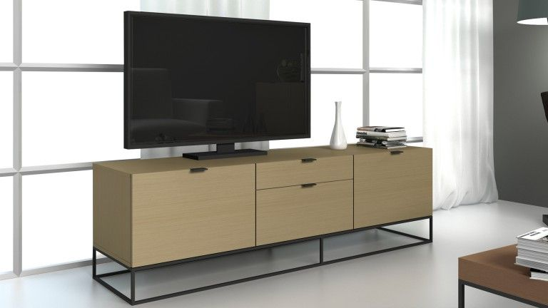 Meuble Tv Kufstein Bois Avec Piètement En Métal Noir - Mobilier