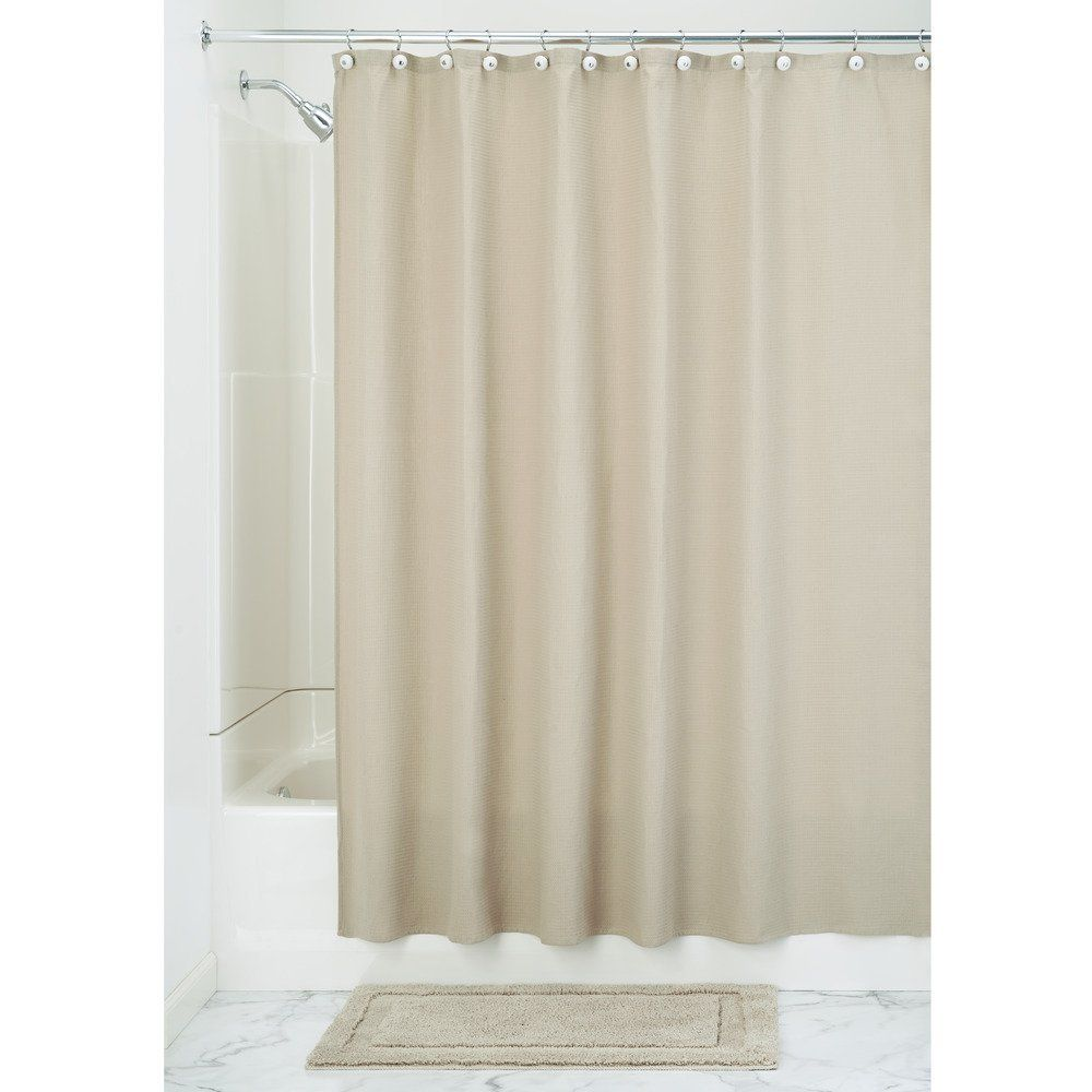 Amazon InterDesign York Waffle Weave Shower Curtain Mold Mildew Resistant Hotel