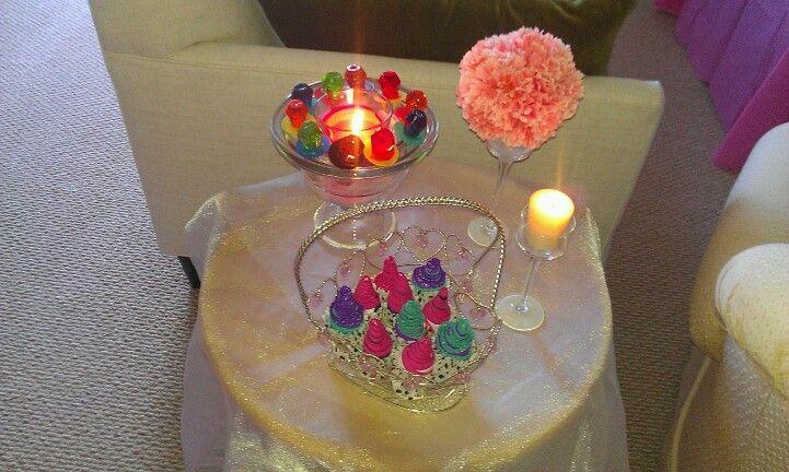 Lingerie shower panty cupcakes & ring pop centerpiece