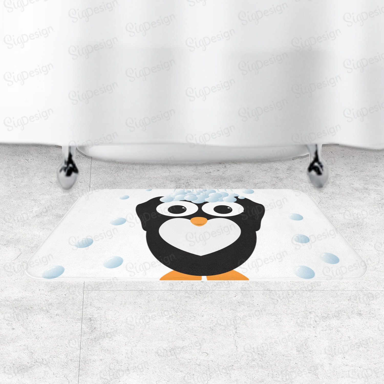 Cute Penguin Bath Mat, Kids Bath Rug With Cute Penguin And