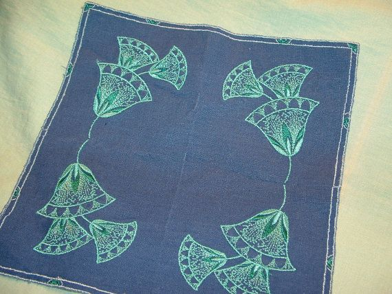 Teal on Blue Embroidered Handkerchief by cajunstitchery on Etsy, $10.00