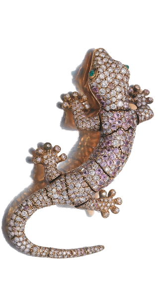 8fa42f93936 GEM SET AND DIAMOND BROOCH, MICHELE DELLA VALLE Designed as a gecko  pavé-set with circular-cut diamonds of pink tint and pink sapphires, the  eyes set with ...