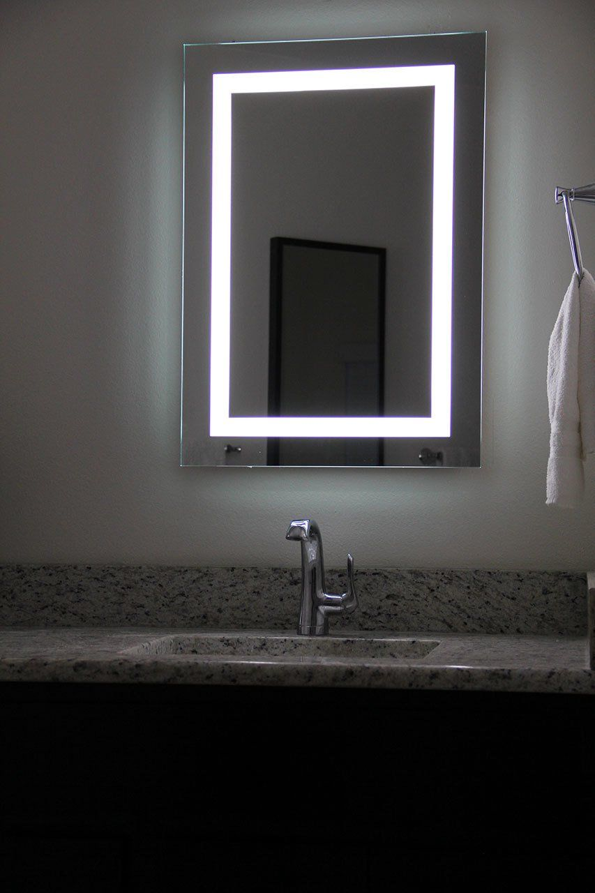 Lighted Image Led Bordered Illuminated Mirror With Bluetooth Speakers For More Information Visit Im Mirror With Built In Lights Led Mirror Bathroom Mirror