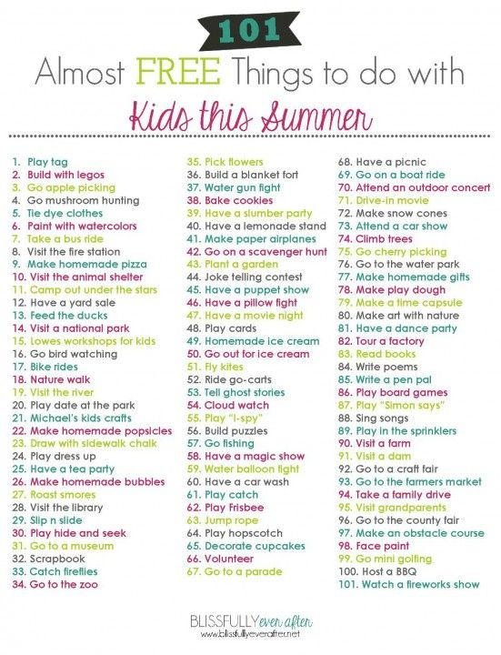 101 Almost Free Things To Do With Kids This Summer Free Printable