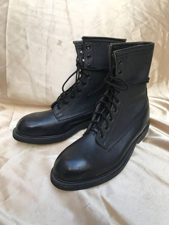 674eba8c626 Vintage WOLVERINE Black Leather Steel-Toe Combat Boots Made in USA ...