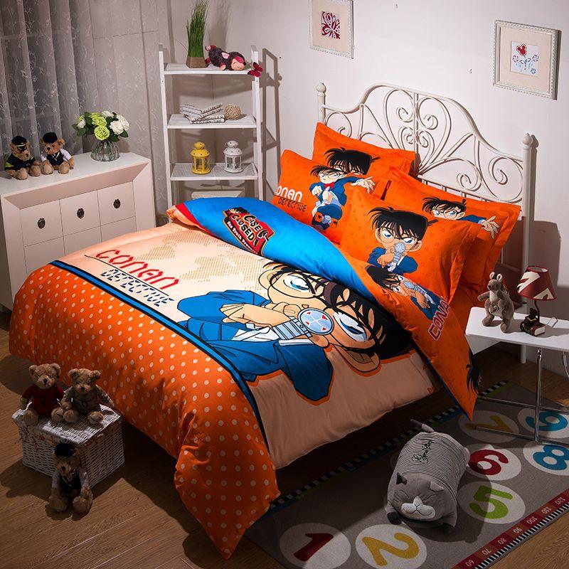 japanese anime conan bedding set twin full queen kingadult cartoon orange red polka dot