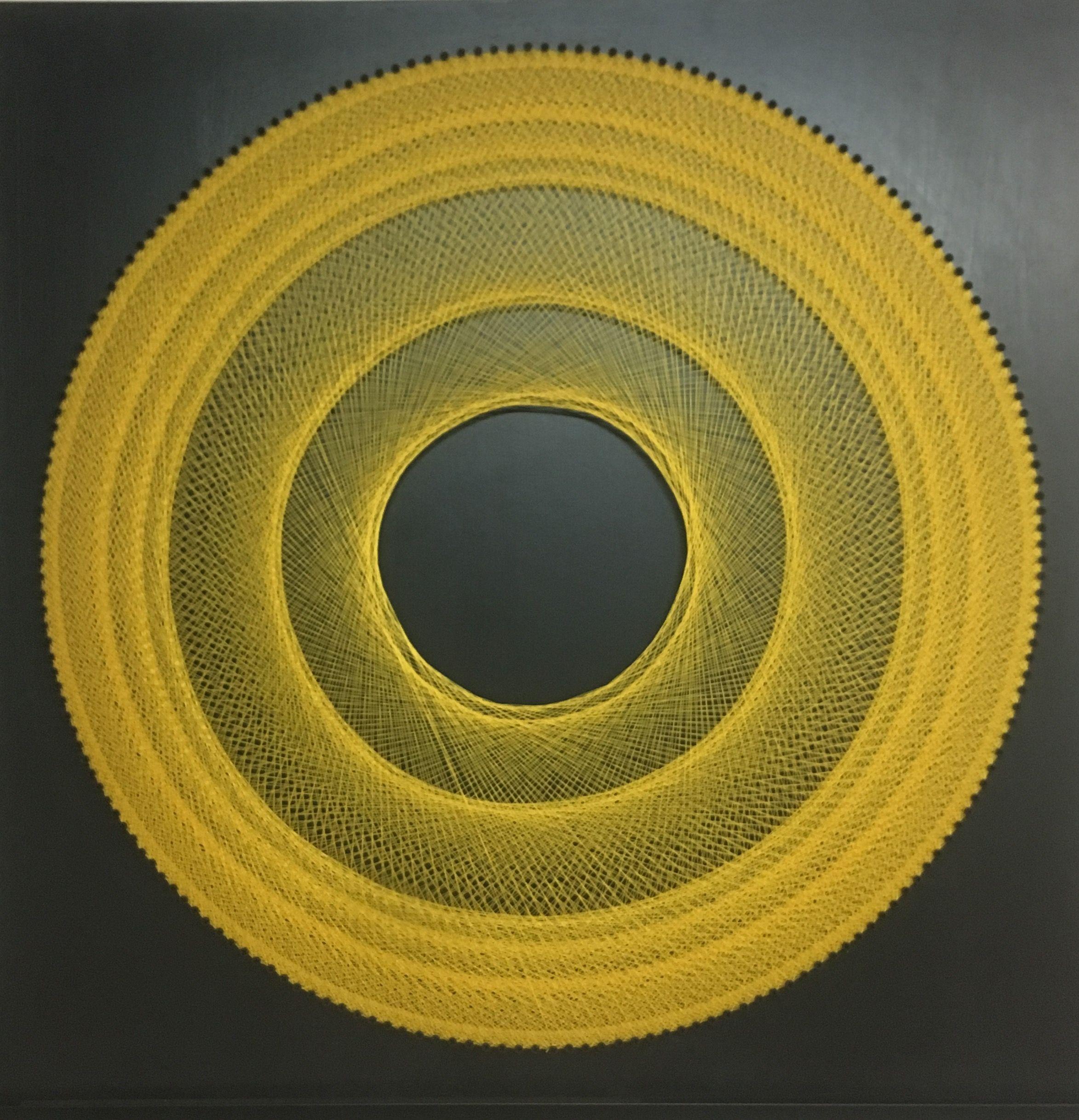 Graphic Circle Thread Art Yellow Mandala Concentric Circle Yellow On