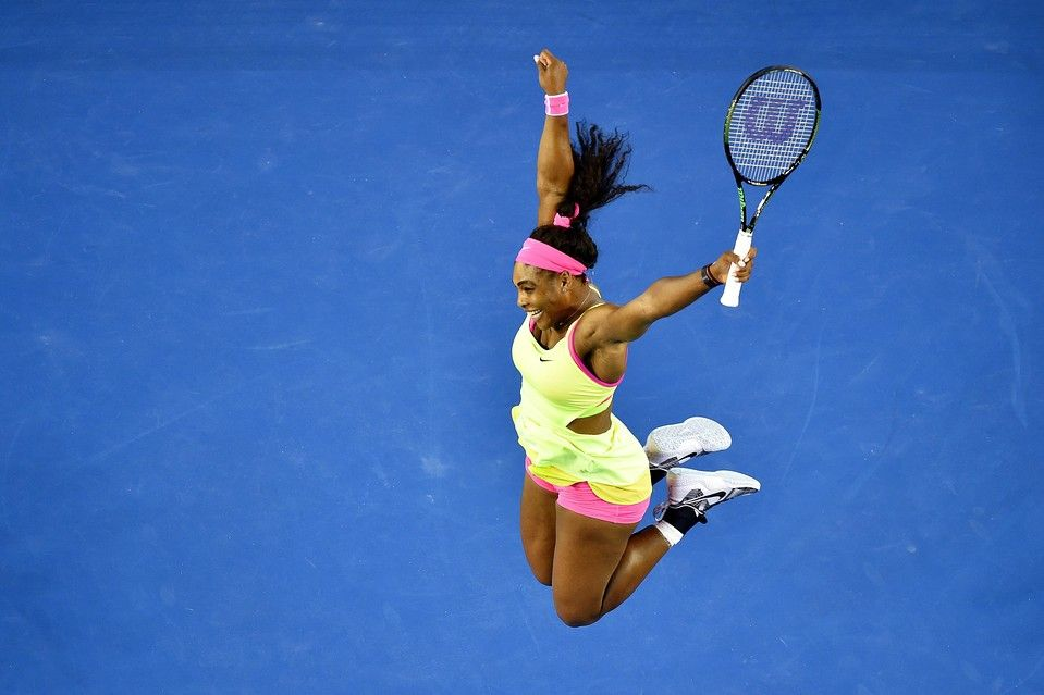 Serena Williams celebrates after winning the Australian Open women's final against Maria Sharapova in Melbourne...