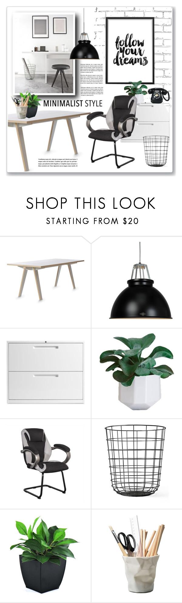 """minimalist officce"" by nanawidia ❤ liked on Polyvore featuring interior, interiors, interior design, home, home decor, interior decorating, Original BTC, Blu Dot, Sonax and Menu"