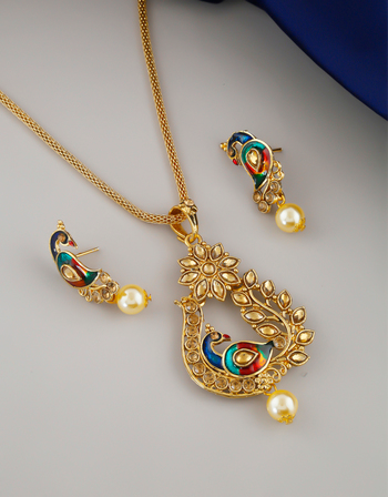 Buy Peacock Design Gold Finish Fancy Traditional Chain Pendant Set Online Anuradha Art Jewellery Wedding Gifts For Friends Bridal Nose Ring Gold Girl