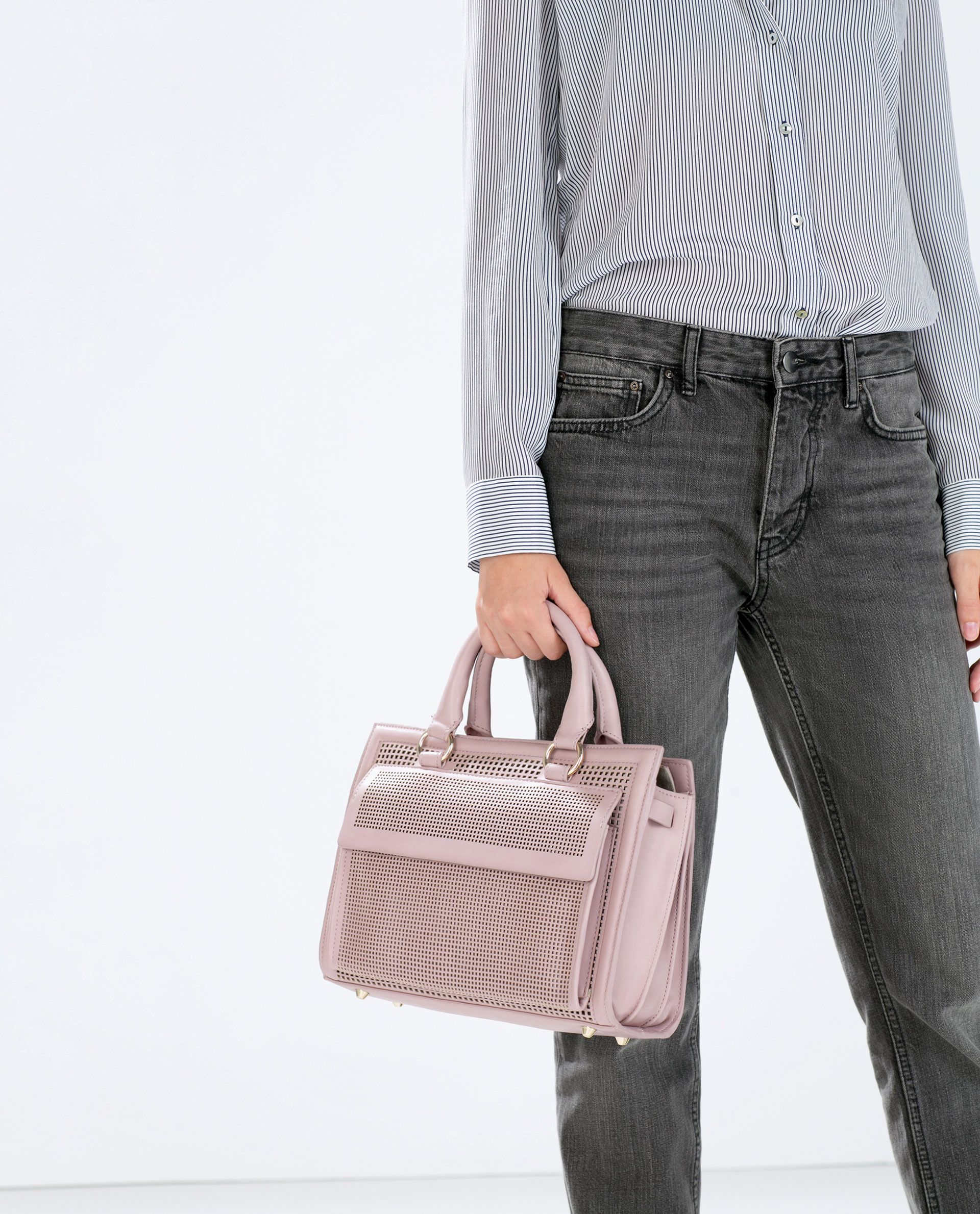 ZARA WOMAN MEDIUM PERFORATED OFFICE CITY BAG bags