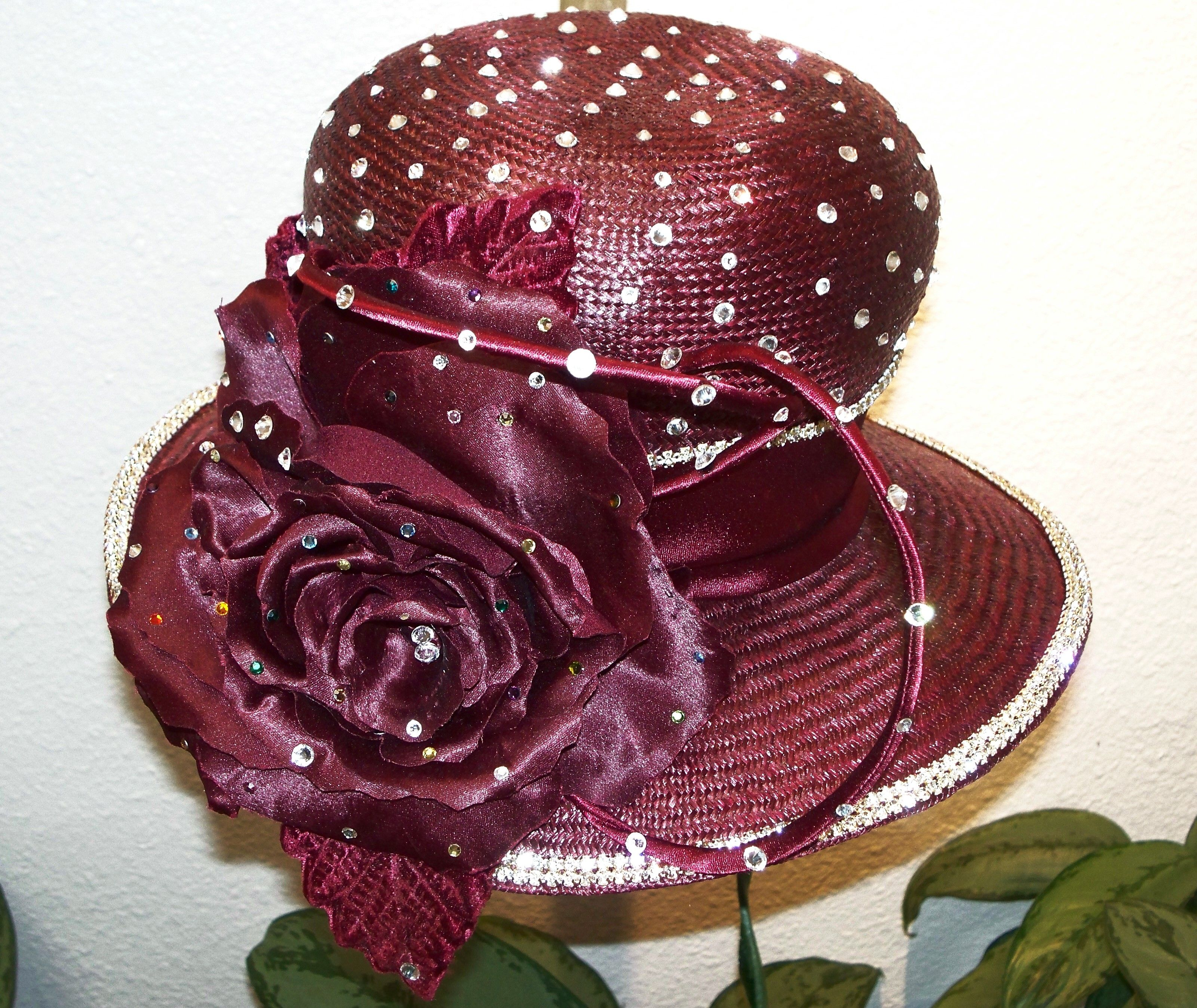 CRANBERRY Hat made by FANCY ROSE