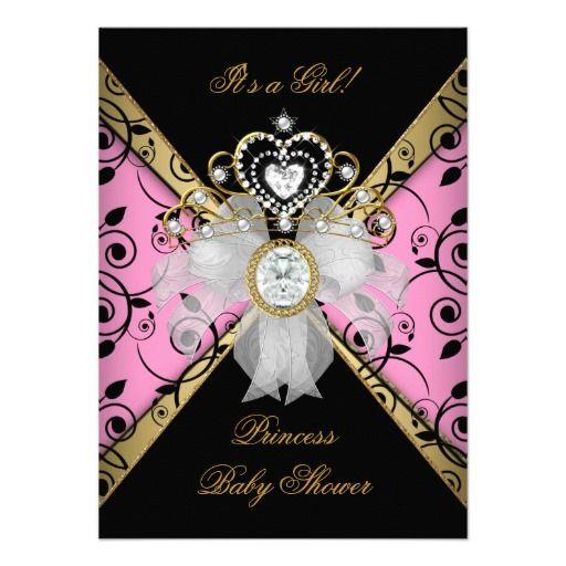 baby shower girl white pink princess damask card – unitedarmy,