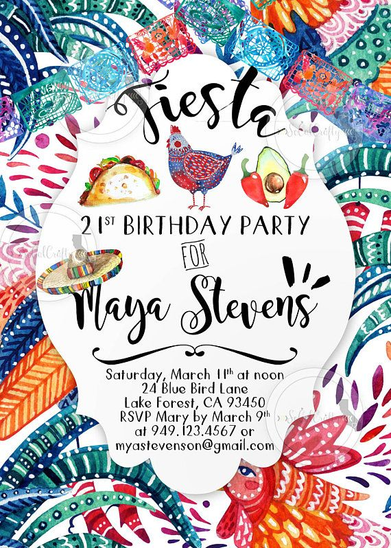 Fiesta Birthday Party Invitation Printed Or Printable