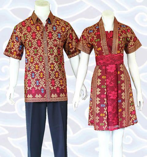 Modern Batik Dress Couple Sarimbit Marun SM352 Kombinasi