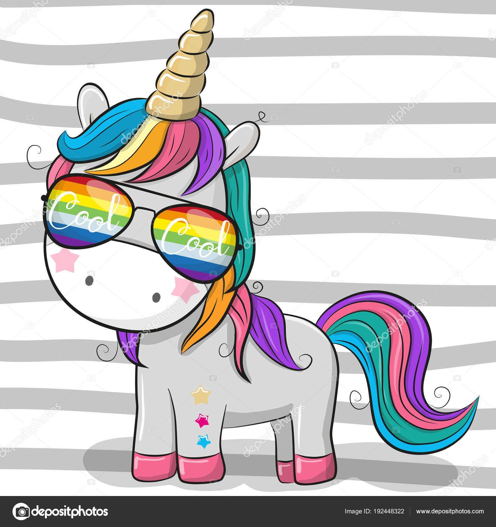 bdc6c1729d Descargar - Lindo unicornio con gafas de sol — Ilustración de Stock ...