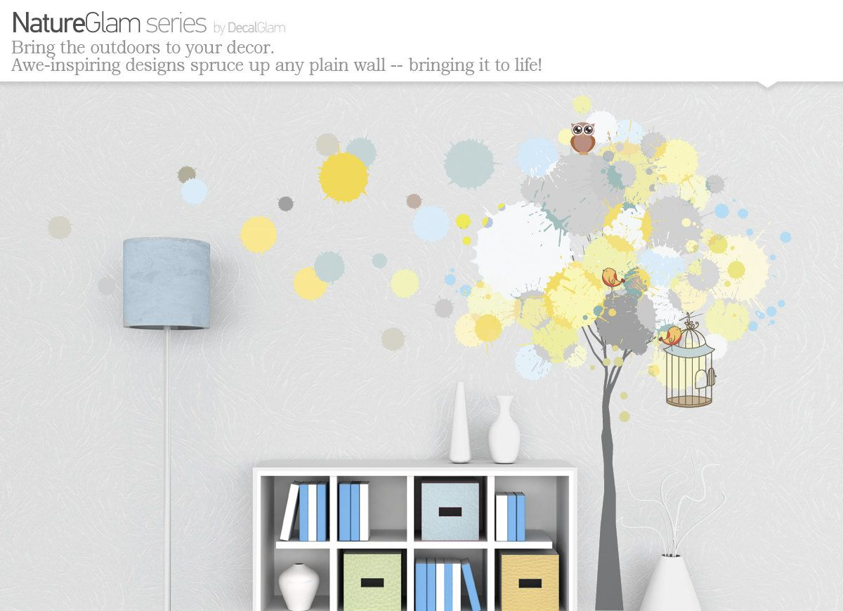 Modern wall decal splattered paint tree with owl birds cage