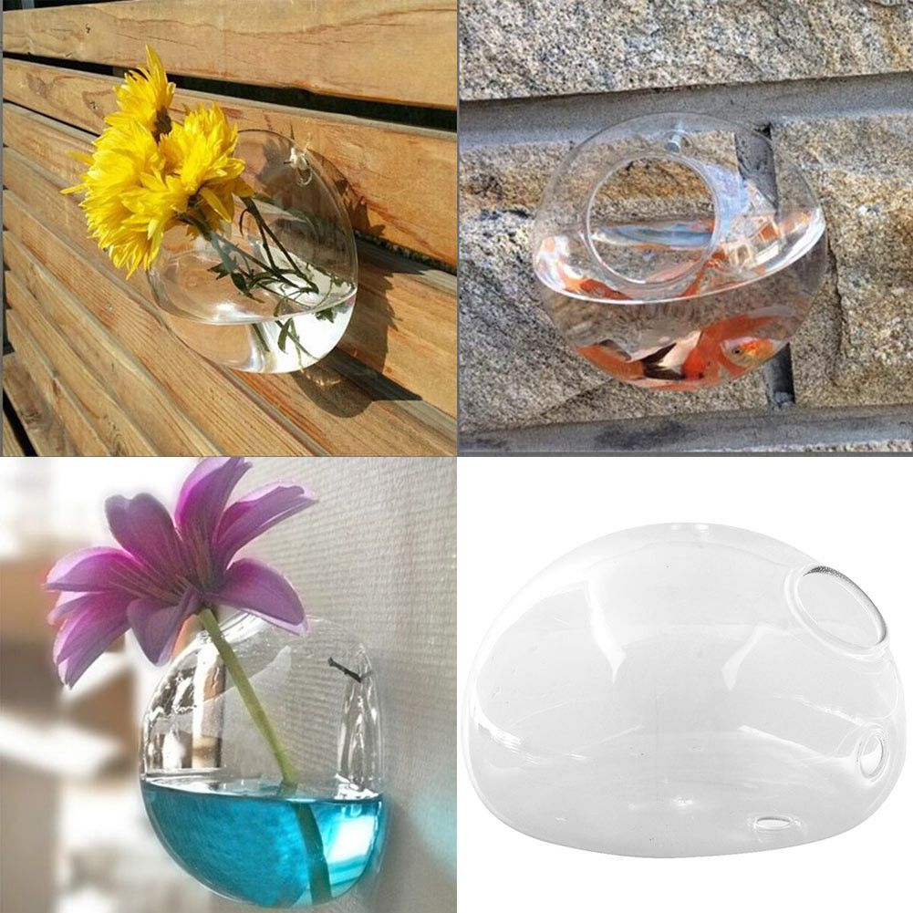 New creative semicircular wall hanging glass flower vase new creative semicircular wall hanging glass flower vase hydroponic container fish tank home wedding reviewsmspy
