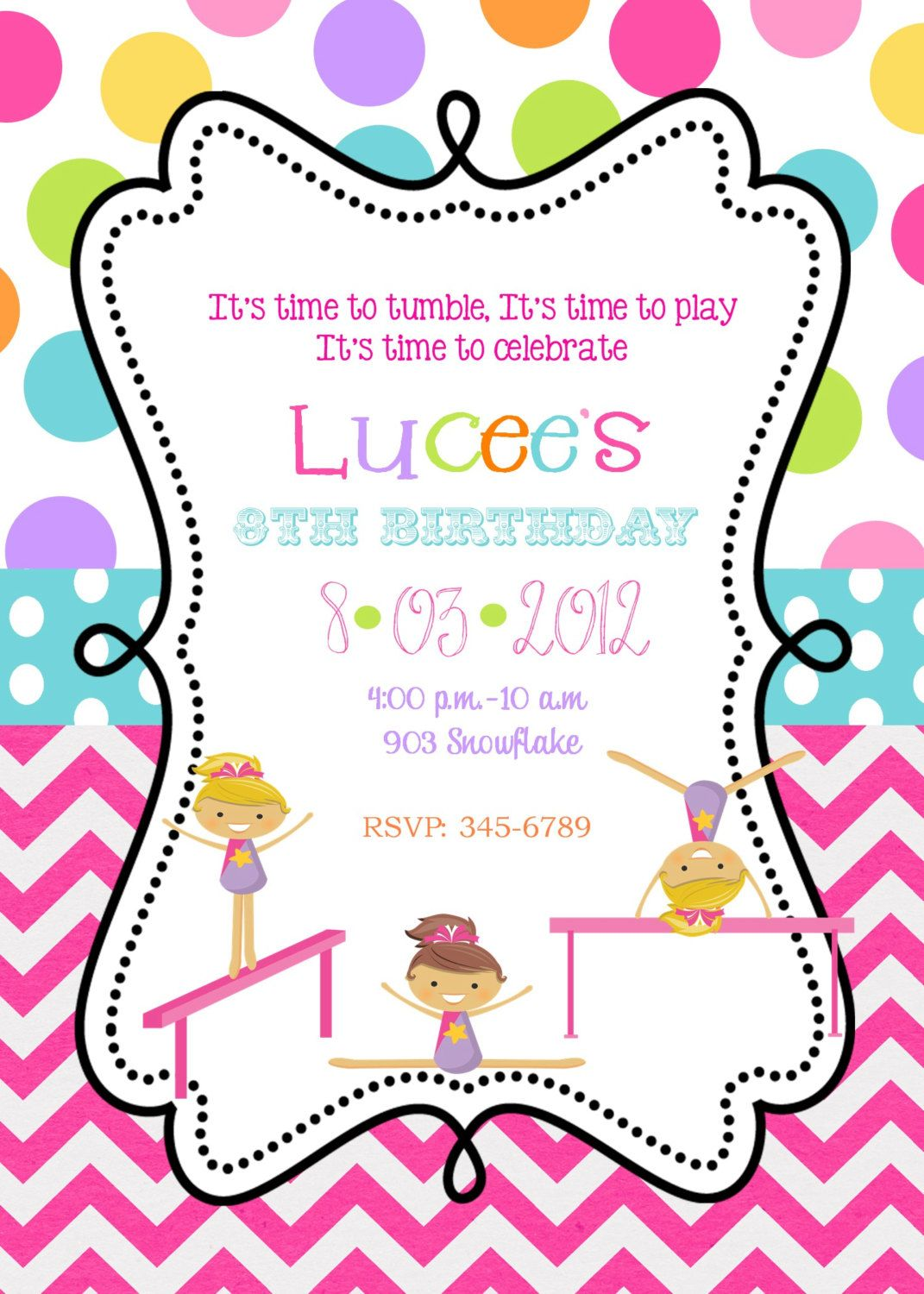 Gymnastics Invitations Tumble Jump Flip Birthday Party – Gymnastics Party Invitation