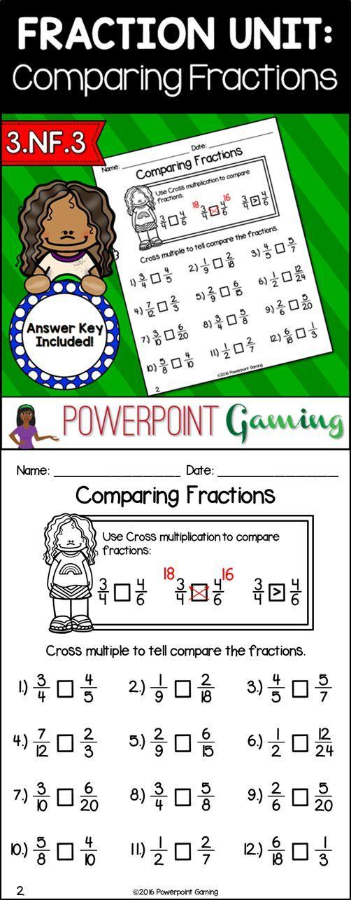 Fraction Unit Comparing Fractions Worksheet Comparing Fractions