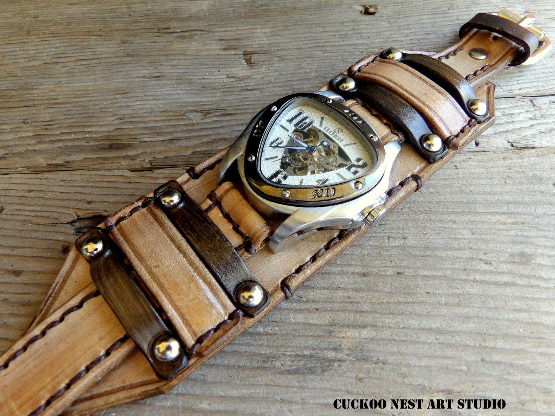 Steampunk Leather Watch Cuff Men's watch by
