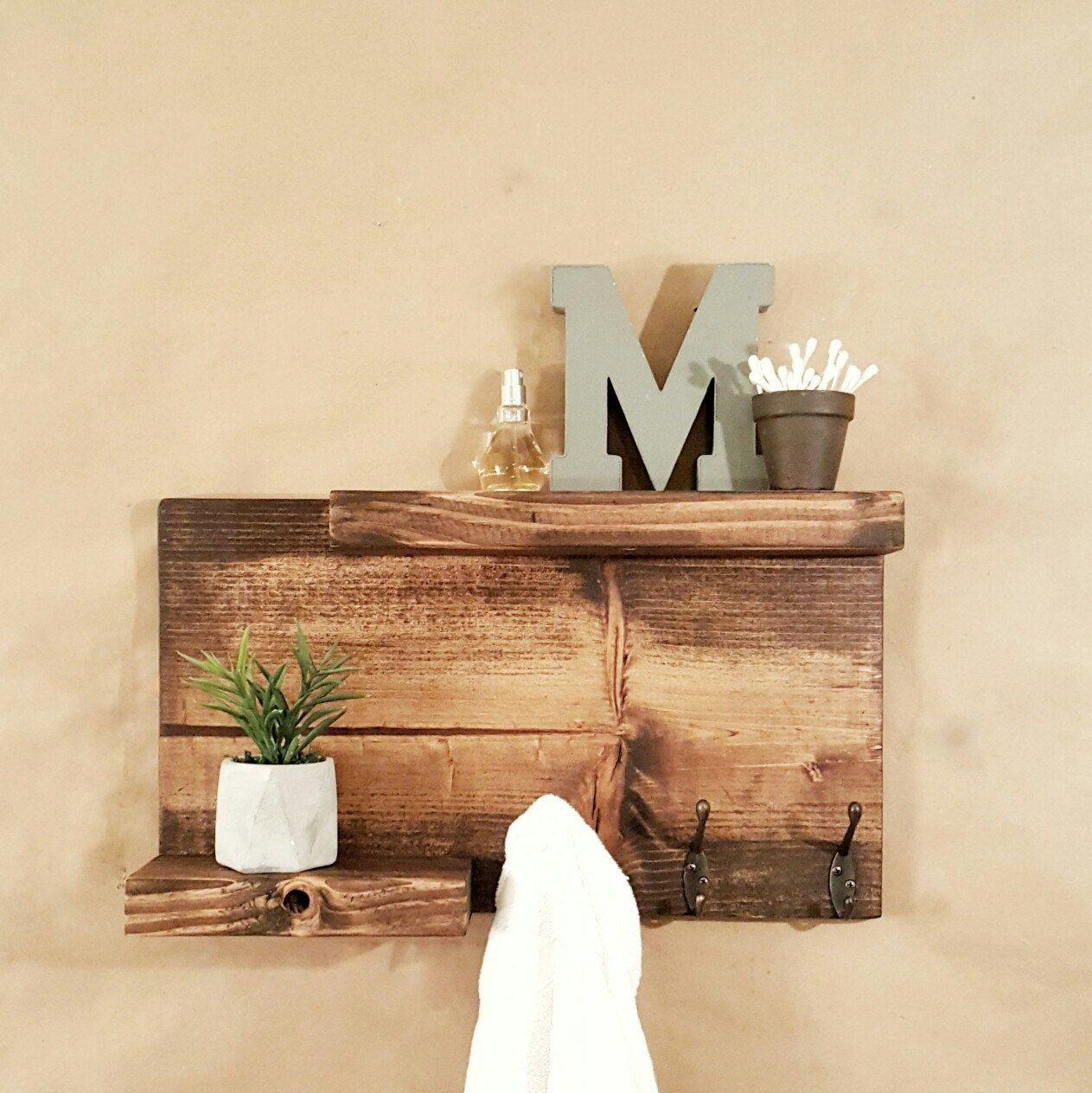 Bathroom Shelf With Towel/robe Hooks