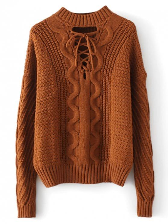 Up to 70% OFF! Cable Knit Panel Lace Up Sweater. Zaful 0ff2d3245