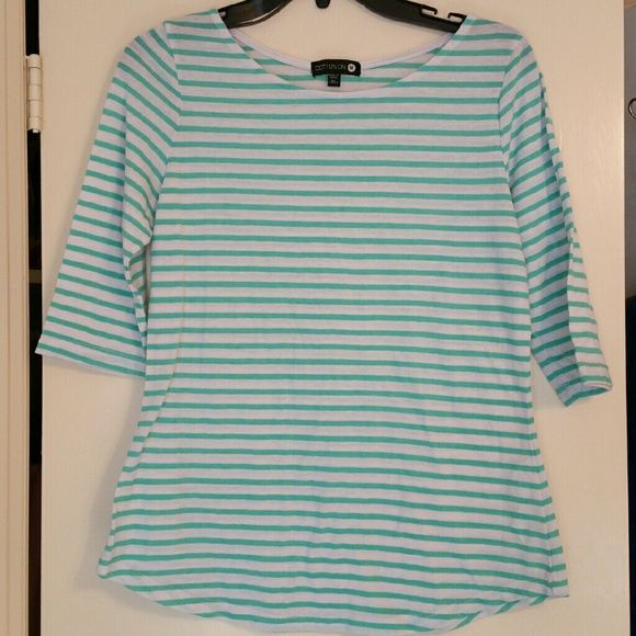 Mint & White Stripes Top-FREE WITH PURCHASE Comfy & Easy to match // Great for summer outfits // Good condition // All of the items in my closet are smoke & pet FREE. // Offers are welcomed! :) Cotton On Tops Tees - Short Sleeve