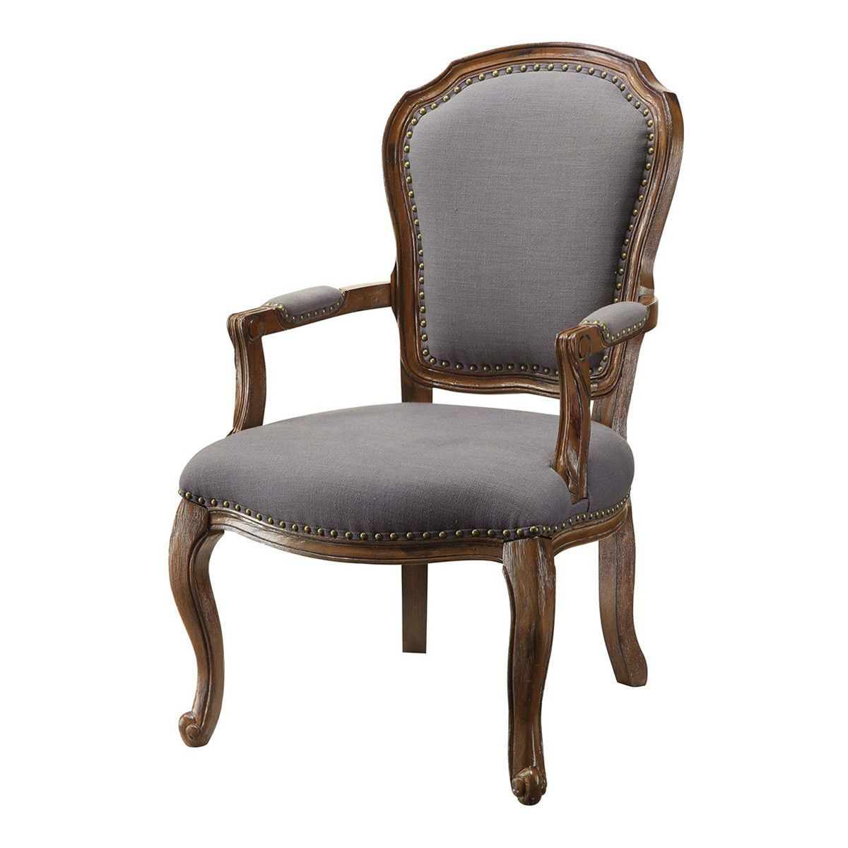 Providence Wood Accent Chair with Grey Linen and Nailhead Trim