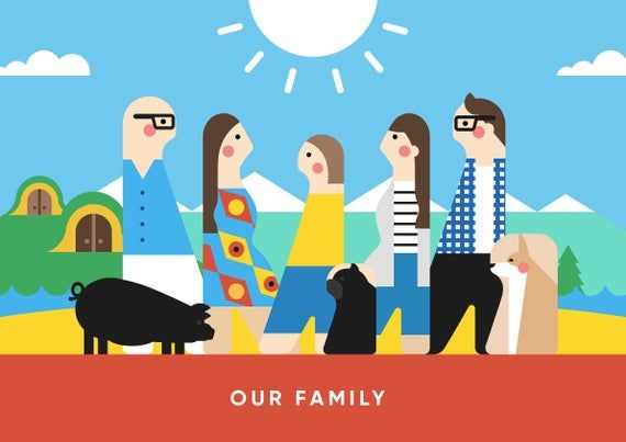 Custom illustrated big family portrait as a Gift for grandparents, Digital Download. #bestgiftsforgrandparents