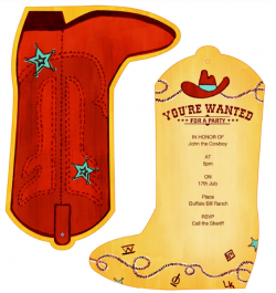 Free Printable Birthday Party Invitations Templates Kids Cowboy