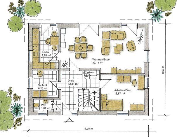 Grundriss einfamilienhaus schlafzimmer im erdgeschoss  Fertighaus Lindenstraße -Erdgeschoss | Hausbau-Grundriss ...