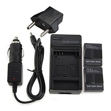 2 x AHDBT-301 Battery 1600mAh Batteries Pack+Wall Charger+Car Charger+EU Adapter Plug for GoPro 3 & 3+ – USD $ 24.29
