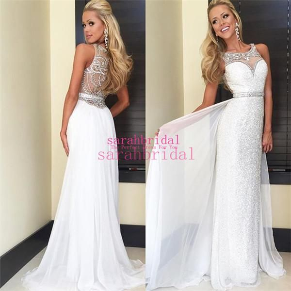 2015 White Chiffon And Sequin Long Prom Dresses For Summer 8th Grade