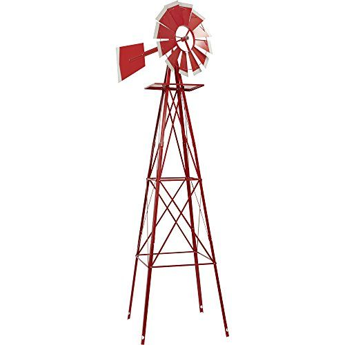 Wind Sculptures N Spinners 8ft. Ornamental Garden Windmill   Red And White  Outdoor Décor