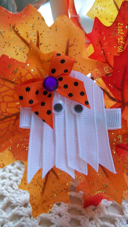 Halloween Hair Clip....Ghost Hair Clip....Girls Hair Clip. $2.50, via Etsy.