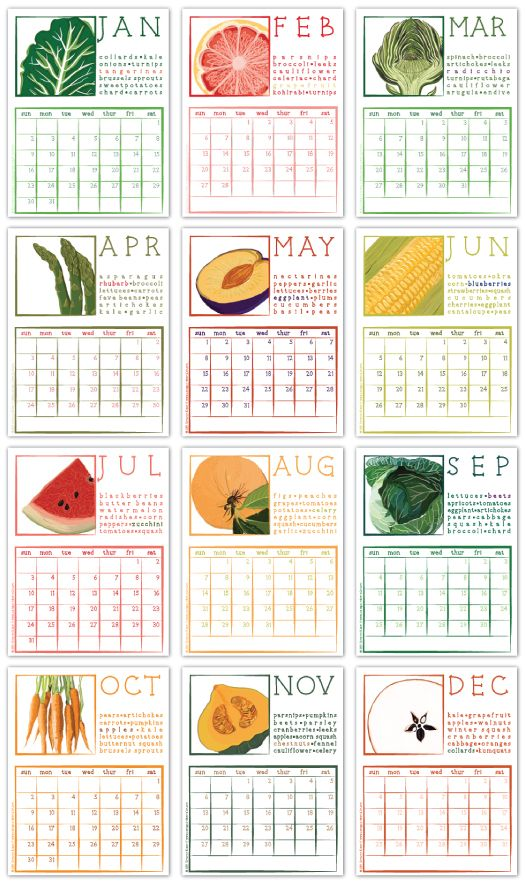 A wonderful 2011 calendar that reminds us of seasonal produce i want to print this